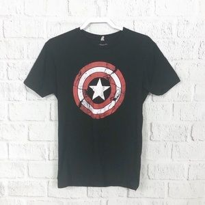 Black Marvel Captain America distressed tee